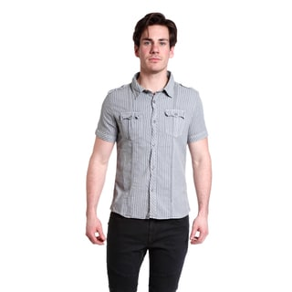 Excelled Men's Striped Short Sleeve Button Down Woven Shirt