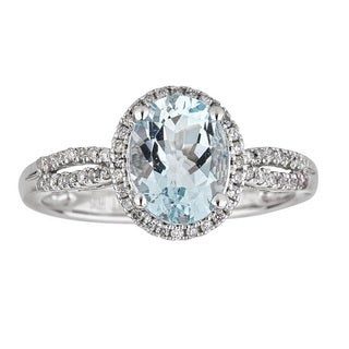 Anika and August 10K White Gold Oval-cut Brazilian Aquamarine and 1/4ct TDW Diamond Ring (G-H, I1-I2)