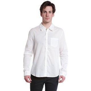 Excelled Men's White Woven Long Sleeve Collared Shirt
