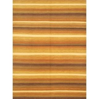 ecarpetgallery Lahor Finest Orange/ Yellow Wool Sumak (8'6 x 11'6)
