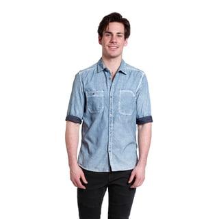 Excelled Men's Distressed Denim Short Sleeve Woven Shirt