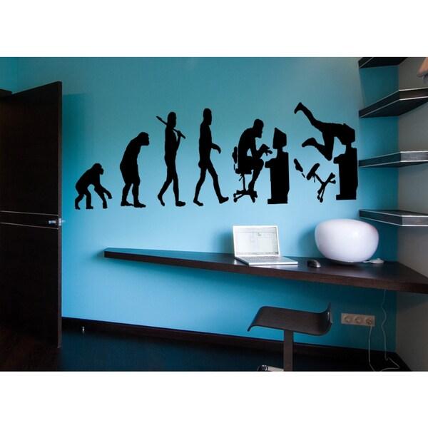 Shop Evolution Monkey man computer Wall Art Sticker Decal - Free ...