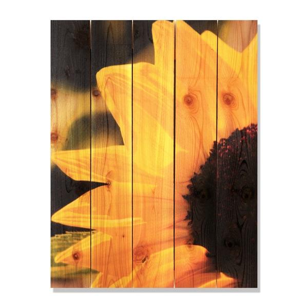 Yellow Sunflower -28x36 Indoor/Outdoor Full Color Cedar Wall Art ...