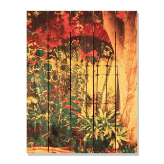 Spanish Garden -28x36 Indoor/Outdoor Full Color Cedar Wall Art