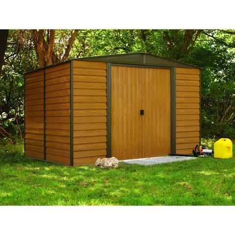 Woodridge 10 x 12 ft. Steel Storage Shed Coffee/Woodgrain - 10x12