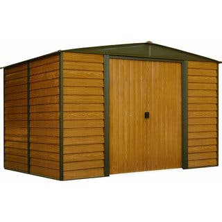 "Arrow Woodbridge Galvanized Steel Shed 10' x 8' with 71"" Wall Height With sliding doors / WR108