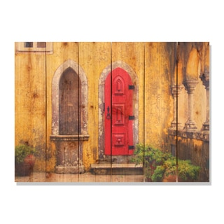 Red Door -33x24 Indoor/Outdoor Full Color Cedar Wall Art