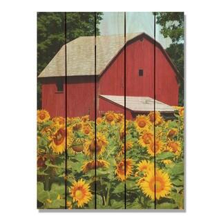 Sunflower Barn - 28x36 Indoor/Outdoor Full Color Cedar Wall Art