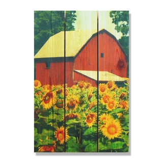 Sunflower Barn - 16x24 Indoor/Outdoor Full Color Cedar Wall Art