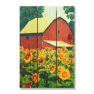 Sunflower Barn - 16x24  Indoor/Outdoor Full Color Cedar Wall Art