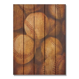 Vintage Baseball - 28x36 Indoor/Outdoor Full Color Cedar Wall Art