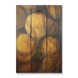 Vintage Baseball - 16x24 Indoor/Outdoor Full Color Cedar Wall Art
