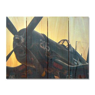WWII Corsair - 22x16 Indoor/Outdoor Full Color Cedar Wall Art