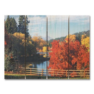 Fall Park 22x16 Indoor/Outdoor Full Color Cedar Wall Art