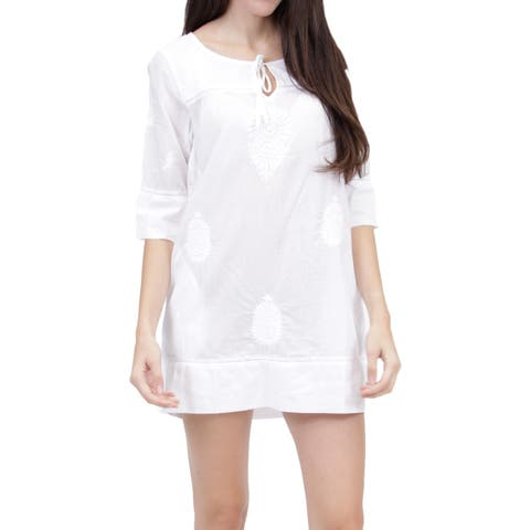 La Cera Women's 3/4 Sleeve Embroidered Cover Up