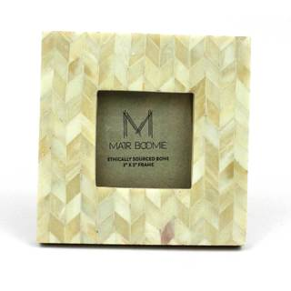 Square Chevron Bone and Wood Frame for 3x3 Photo in Pearl (India)