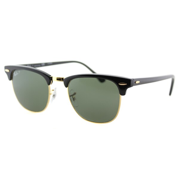 Ray-Ban RB 3016 901/58 Black And Gold Plastic Clubmaster Green Polarized Lens Sunglasses