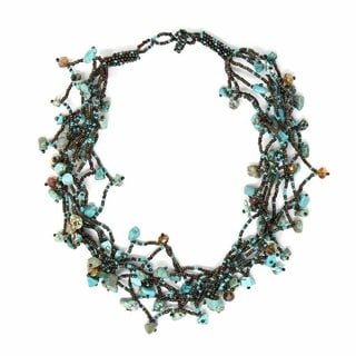 Handcrafted Chunky Stone Necklace - Turquoise (Guatemala)