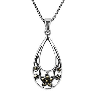 Handmade Sweet Floral TearDrop Marcasite Sterling Silver Necklace (Thailand)