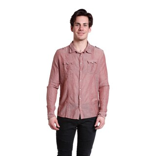 Excelled Men's Russet Red Cotton Long Sleeve Woven