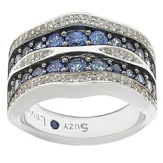 Suzy Levian Sterling Silver/ 18k Gold 3.19TCW Sapphire and Diamond Accent Wavy Ring