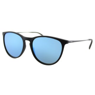 Ray-Ban 9060S Erika Junior Unisex Black Rubber Plastic Round Blue Mirror Lens Sunglasses
