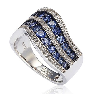 Suzy Levian Sterling Silver/ 18k Gold 2.49TCW Sapphire and Diamond Accent Wavy Ring