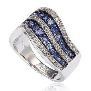 Suzy Levian Sterling Silver/ 18k Gold 2.49TCW Sapphire and Diamond Accent Wavy Ring - Blue