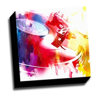 Colorful Vinyl 12x12 Music Art Printed on Stretched Framed Ready to Hang Canvas