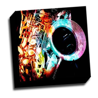 Colorful Sax 12x12 Music Art Printed on Stretched Framed Ready to Hang Canvas