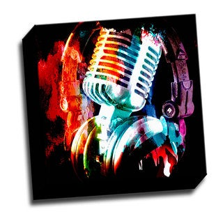 Colorful Microphone 12x12 Music Art Printed on Ready to Hang Framed Canvas