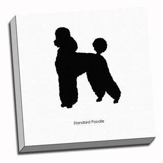 Poodle Dog Black and White Art Printed on Ready to Hang Framed Canvas