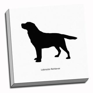 Labrador Retriever Dog Black and White Art Printed on Ready to Hang Framed Canvas
