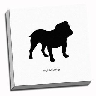 English Bulldog Dog Black and White Art Printed on Ready to Hang Framed Canvas
