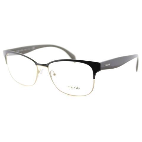 829b36949273 Prada PR 65RV DHO1O1 Brown On Pale Gold Metal Rectangle 55mm Eyeglasses
