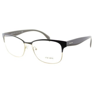 Prada PR 65RV DHO1O1 Brown On Pale Gold Metal Rectangle 55mm Eyeglasses