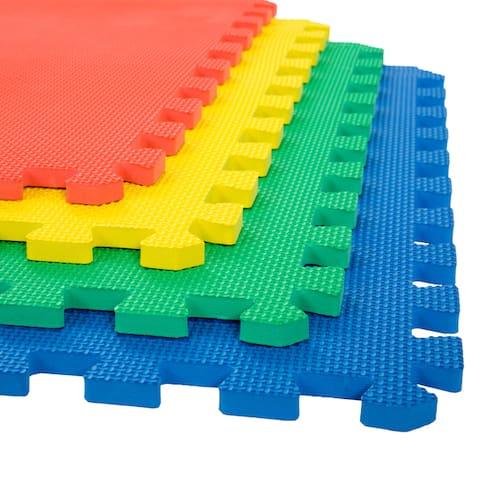 Stalwart 24-inch Interlocking Multi-color EVA Foam Floor Mats (Pack of 4)