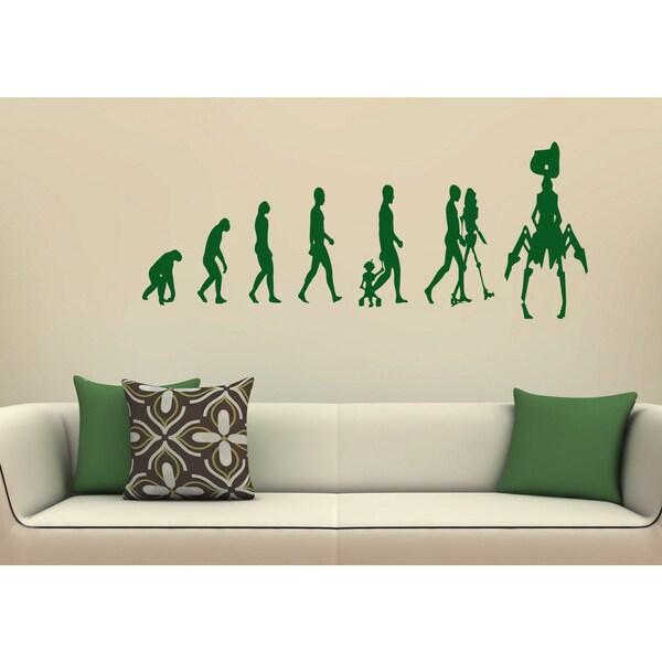 Shop Evolution evolutionary chain robot Wall Art Sticker Decal Green ...