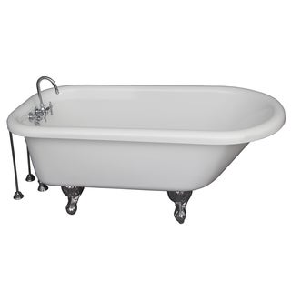 60-inch Double Acrylic Roll Top White Bathtub Kit in Polished
