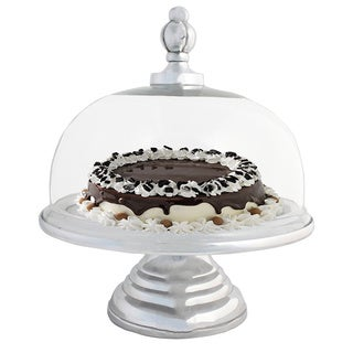 Urban Designs Domed Glass Cake Plate With Aluminum Base