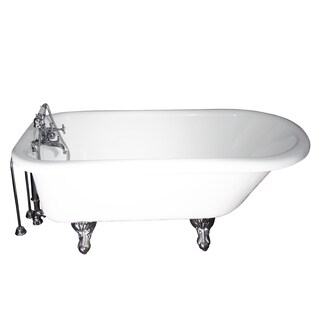 Tub Kit 67 Inches Inches AC Roll Top Shower Unit Supplies Drain in Chrome