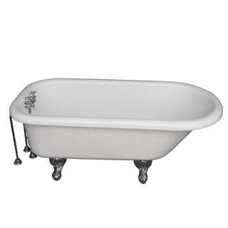 5.6-foot Acrylic Ball and Claw Feet Roll Top Tub in White
