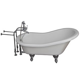 60-inch Acrylic Slipper Bathtub Kit in White with Porcelain
