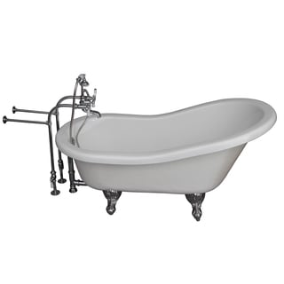 60-inch Acrylic Slipper Bathtub Kit in White with Metal Cross H