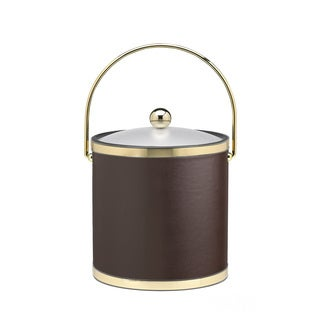 Sophisticates with Polished Gold 3-quart Ice Bucket with Bale Handle, Bands and Acrylic Cover