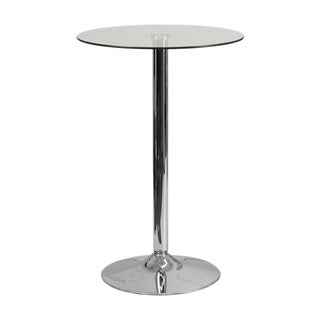 Offex 23.5'' Decorative Round Glass Table With 35.5''H Chrome Base