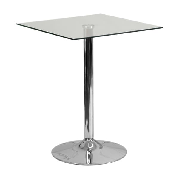 Offex 23.75'' Decorative Square Glass Table With 30''H Chrome Base [CH-4-GG]
