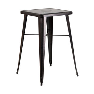 Offex 24'' Square Black-Antique Gold Metal Indoor-Outdoor Restaurant Bar Height Table