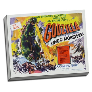 Godzilla Movie Poster Retro Art Printed on Ready to Hang Framed Canvas