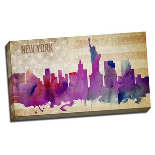 New York Watercolor City Skyline 20x36 Printed on Ready to Hang Framed Canvas